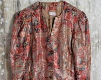 BL_010) Vintage Festive chic print blazer