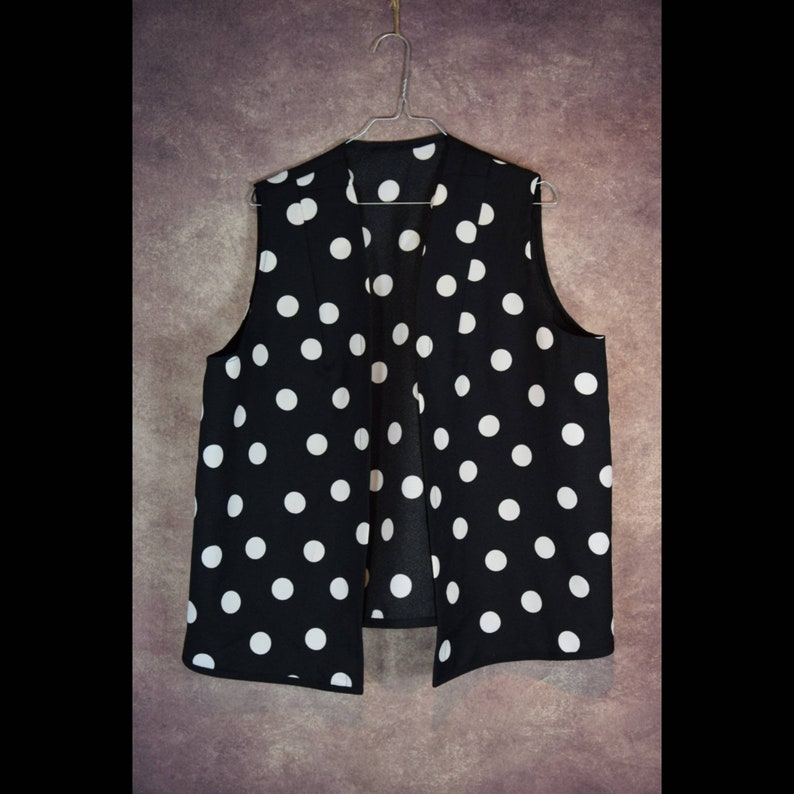 V/_024 Vintage 80 /'s Black and white polkadot half long vestwaistcoat
