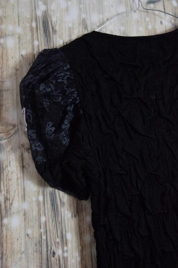 Vintage 80 /'s flamingo style black and white polkadot dress D/_ 021