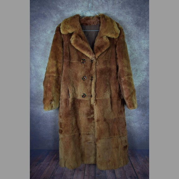C_002) Vintage 70's brown tailored real fur long w