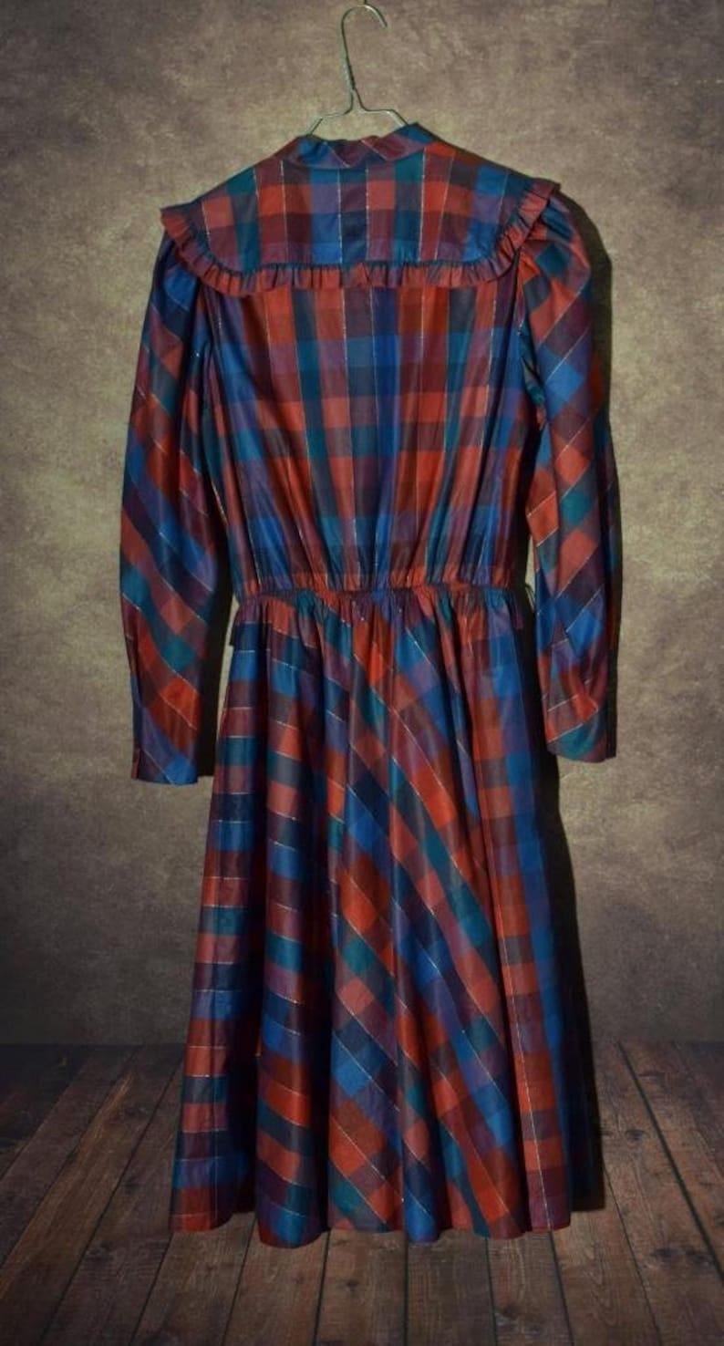D/_031 Vintage 80 /'s bluered checkerd long sleeved big collar dress