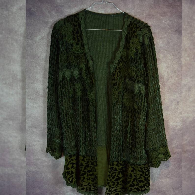 Vintage 80/'s velvet green textured cardigan boho vest V/_027