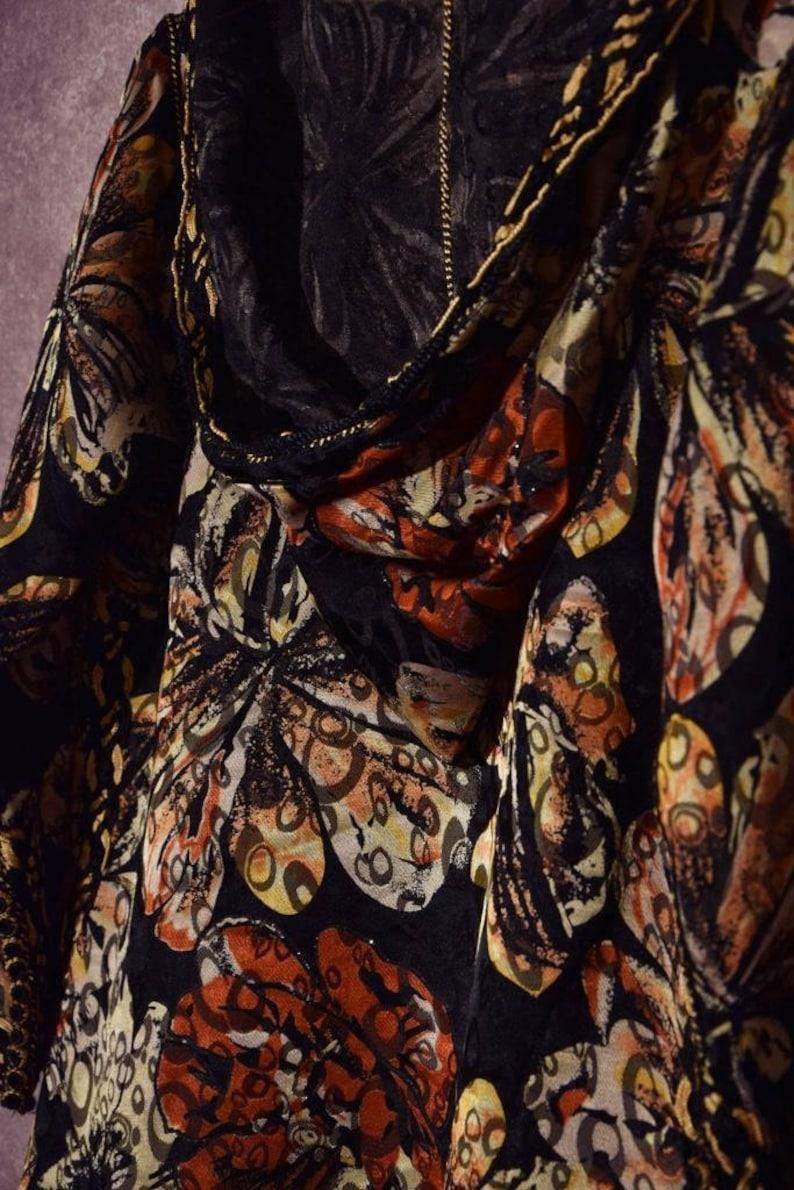 V/_008 Vintage 70 /'s beautiful Arabic golden flower print Long vest