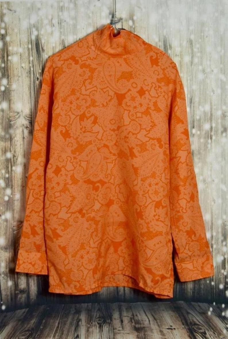 B/_009 Vintage 70 /'s orange flower pattern col-blouse