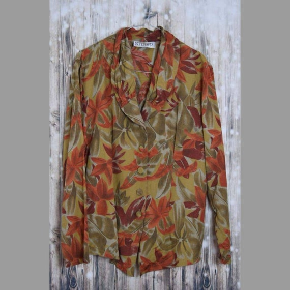 B_021) Vintage 70's olive green/orange forest prin