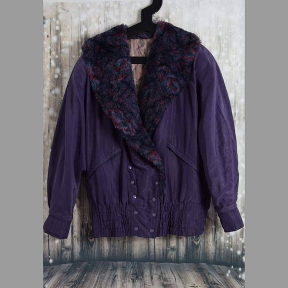 C_006) Vintage 80's purple fake fur two-sided funk