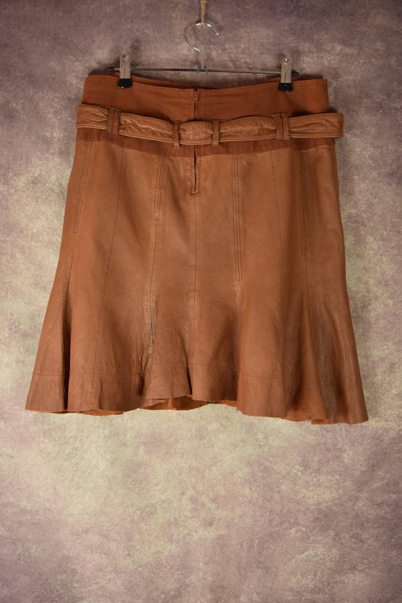 Vintage 80 /'s90 /'s camel brown short leather designer clock skirt S/_023