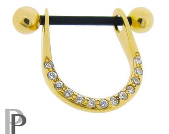 Gold nipple piercing solid 18K and white crystals
