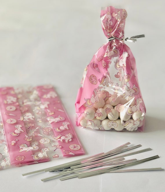 Pastel Pink Coloured Cellophane Bags Party Bag Gift Loot Sweet Birthday Cello