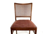 Vintage upholstered chairs with wicker braid