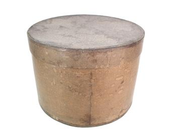 Hat box   brown   round    stable paper   1920   Vintage