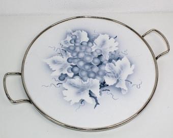 Cake Plate   Cake Plate    Motive: Grapes   Ceramics with metal mount   2 handles   Vintage