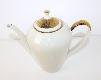 Vintage coffee pot teapot porcelain with gold rim