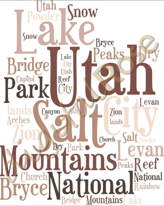 Digital Us States Utah Word Cloud Art Wordle Word Cloud Personalised Word Cloud Svg