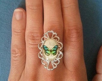 Oval silver plated brass filigree ring