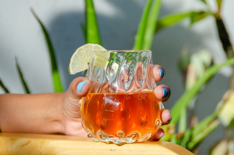 Stemless Wine Glass Crystal Clear Handmade Cherimoya Glass Cup Tropical Cocktail
