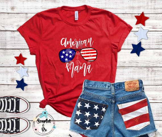 c3e5fb445d1 4th of July Women Plus Size American Mama Shirt 4th of July