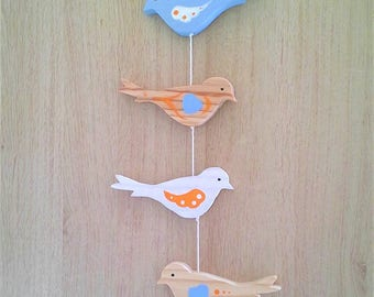 Mobile bird delicately colourful to decorate a child's room