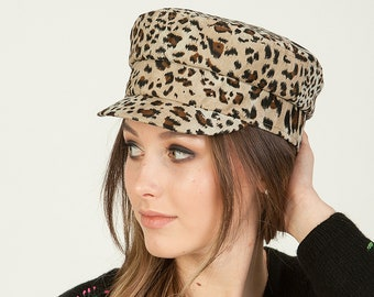 4d3e4a0768c6 Newsboy cap women personalized gifts fiddlers cap leopard print hat baker  boy hat cap with initials