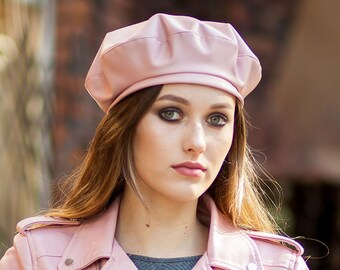 448272daec3 Beret hat leather for women french beret spring beret leather.