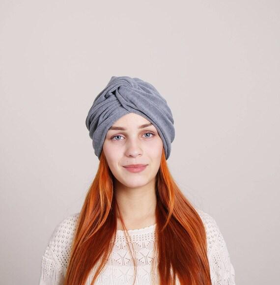 Gray wool turban hat women winter head wrap top knot head  8d002945aa5
