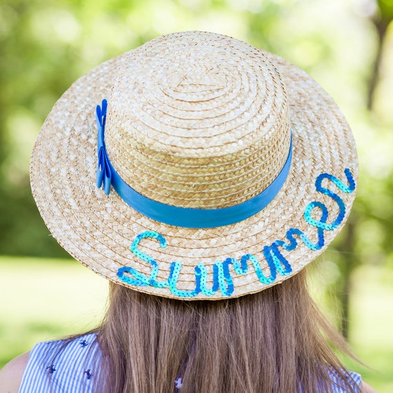 00fa51e43 Custom boater hat personalized beach hat with sequins women straw hats  custom