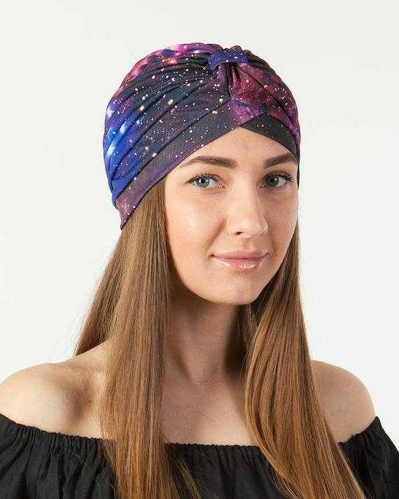 Turban chapeau Stretch des années 1940 Snood bonnet chimio Cap Tropical fleur hawaïenne imprimé Skull Cap cheveux Wrap Turban souple compressible Gypsy affectueux Floral