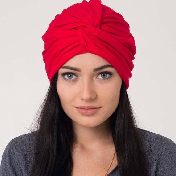 turban jersey women red turban headband hat jersey hairwrap  88a7627bd72
