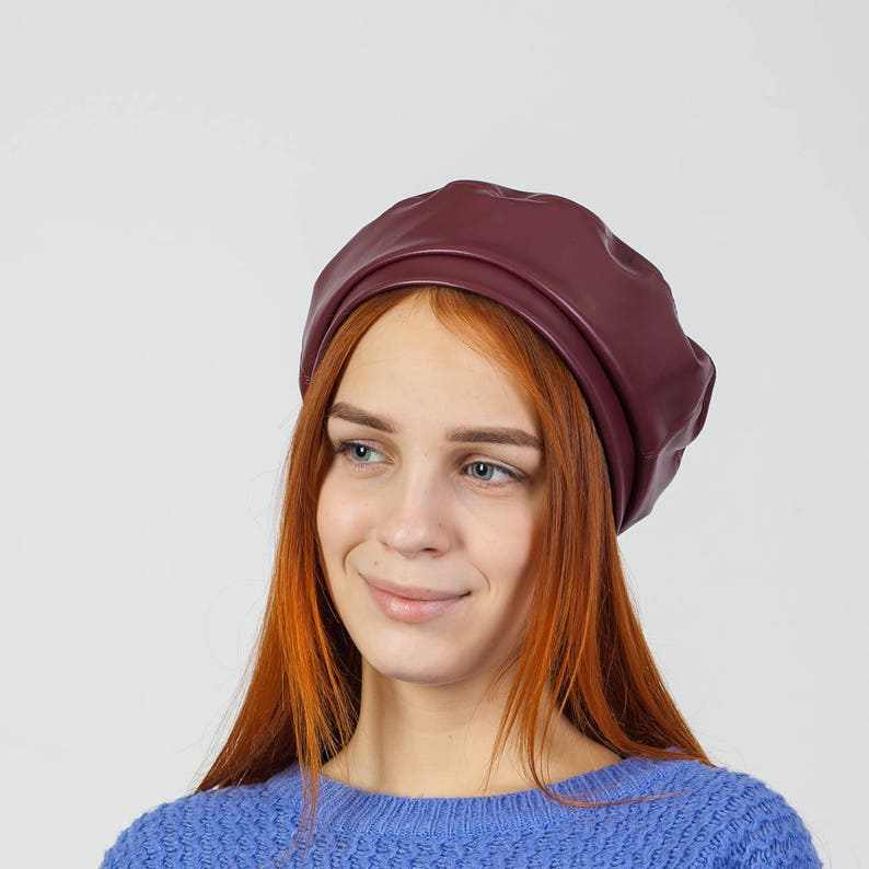 df44e51c6ffe3 Womens beret hat leather brown beret beanie french berets