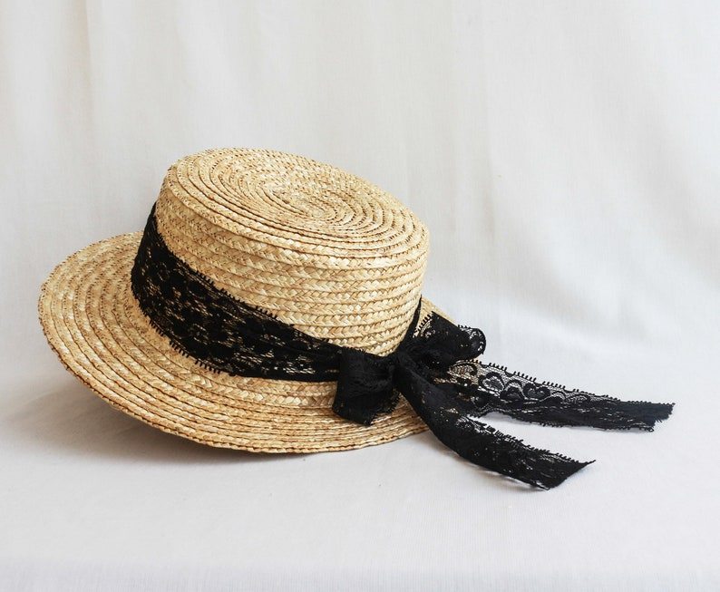 e69d57888 Straw boater hat, personalized boater hat, custom straw hat, sun hat women,  straw beach hats, summer hat with lace ribbon, honeymoon gift
