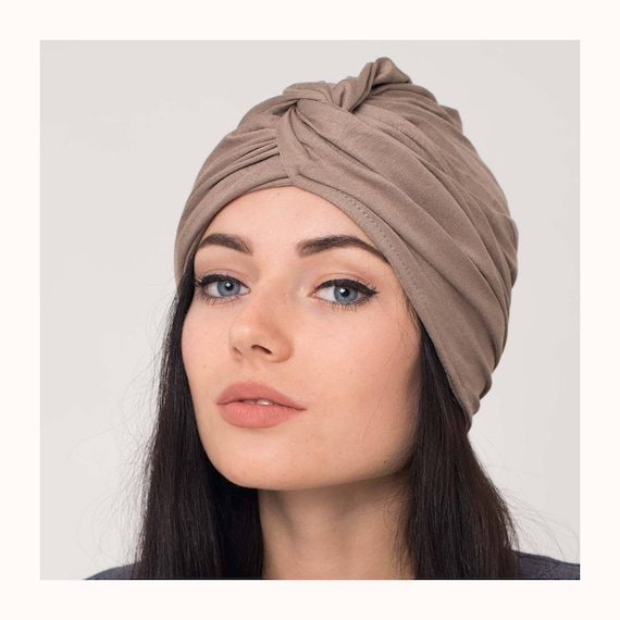 Unique turban jersey women brown hair wrap full turban hat  1635f04b1fb5