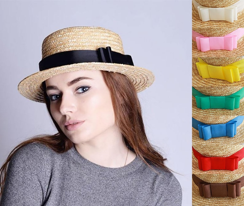 66a0d80b807 Straw hat sun hat boater hat beach women hat ribbon summer