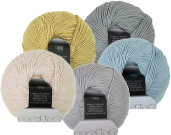 Echt - 100% Organic Cotton - Atelier Zitron - 50g - Sport - Needle size US 2,5 - 4 - without genetic manipulation, Ökotex 100, vegan yarn
