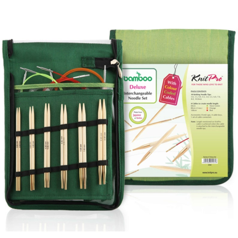 Deluxe Knit Pro bamboo needle tips set  10 pairs of image 0