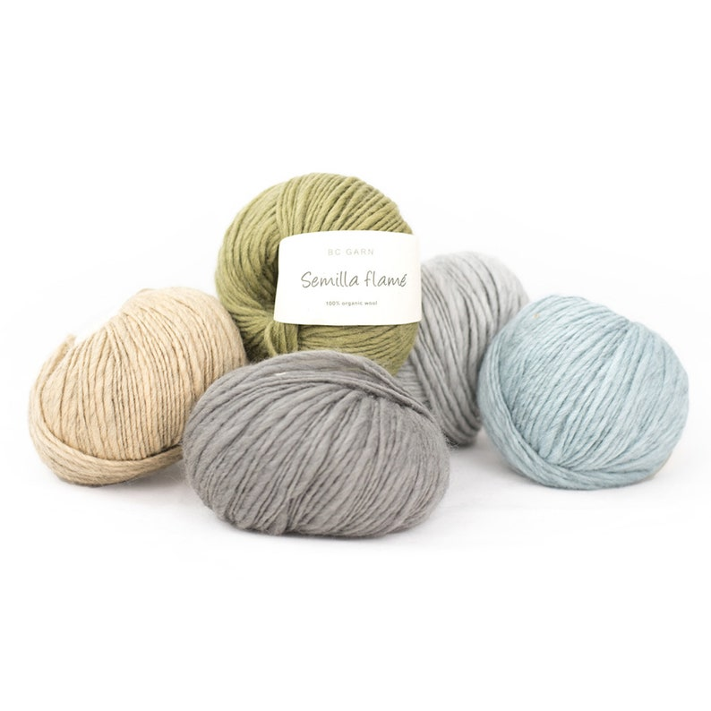 Semilla flamé eco wool  BC yarn  100% virgin wool  50g eco image 0