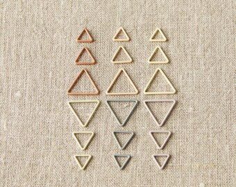 Triangle Stitch Markers - CocoKnits - logo-stamped steel tin with hinged lid - Knit Accessories, gift idea
