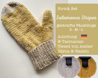 Knit set mittens striped - S-M-L - Tasmanian Tweed Atelier Zitron - Merino extrafine & viscose - Pattern in German - Plus needle set