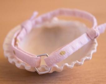 Bracelet child cord pink and Hexagon silver plated brass, sliding knot bracelet