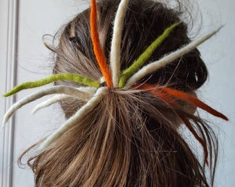 "Scrunchie dreadlocks felted ""peas and carrots"""