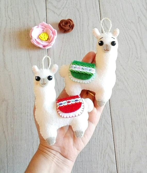 Handmade in Kent. Llama felt hanging decoration ornament