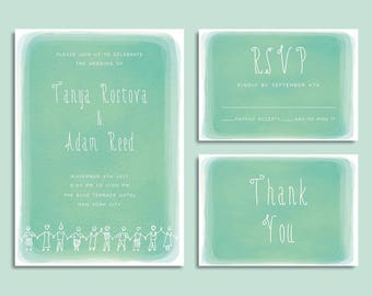 Whimsical Wedding Invitation - Green Watercolor Wedding Invitation - Printable Wedding Suite - Unique Wedding Invitation Set - Matching RSVP
