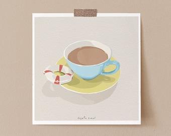 Sarcastic Coffee Illustration Art Print, Coffee Drinker Gift Minimalist Coffee Poster, Funny Kitchen Wall Art Print, Funny Coffee Art Print
