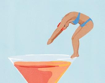 Cocktail Hour Funny Illustration Art Print, Funny Cocktail Wall Art, Cocktail Print, Bar Gift, Alcohol Print, Cocktail Poster, Bar Decor