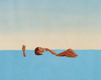 Floating in the Sea Art Print, Dead Sea Wall Art Print, Minimal Watercolor Living Room Art, Blue Print Minimal Art, Holiday Living Room Art