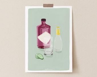 Gin and Tonic Classic Cocktail Art Print, Gin and Tonic, Gin Lover, Kitchen art, Cocktail art print, Kitchen Decor, Bar Poster, Bar Print