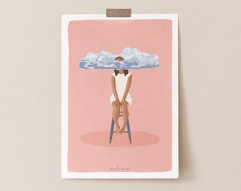 Pink Meditation Decor - Zen Yoga Room Surreal Pink Fantasy Dream Mindfulness Art Print Contemporary Wall Art, Pink Self Care Art Print