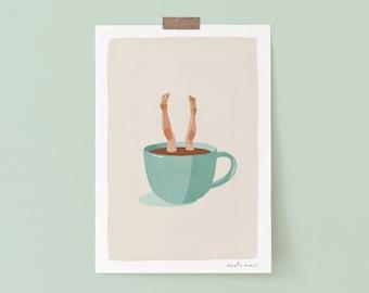 Coffee Addict Funny Illustration Wall Art Print, Coffee Drinker Gift Minimalist Coffee Poster Giclee Poster, Funny Coffee Art Print