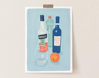 Aperol Spritz Cocktail art Print, Funny Cocktail Poster, Cocktail Wall Art, Aperol Spritz Art, Cocktail Print, Bar Cart Print, Kitchen Print