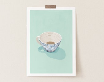 Easy Sunday Coffee Turquoise Watercolor Art Print, Coffee Lover Illustration Art Print, Coffee Lover Gift, Funny Coffee Art Print, Pastel