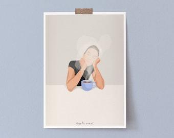 Coffee Aroma Kitchen Coffee Print, Neutral Colors Coffee Kitchen Art Print, Coffee Lover Home Decor Print, Coffee Art Print Kitchen Decor